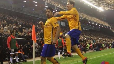 Valencia vs. Barcelona: Luis Suárez rompe la paridad en Mestalla (VIDEO)