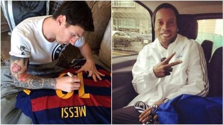 Facebook: Lionel Messi le dio una camiseta autografiada a Ronaldinho (FOTOS)