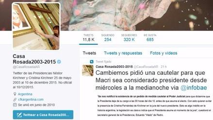 Cristina Fernández se quedó con la cuenta de Twitter de la Casa Rosada