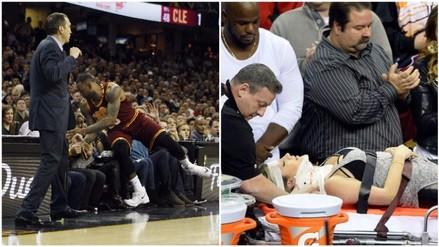 YouTube: LeBron James cayó sobre fanática y tuvo que ser llevada al hospital (VIDEO)