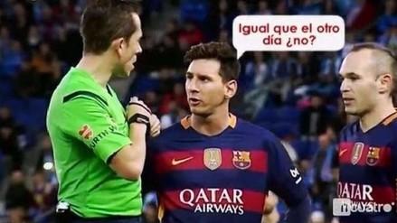 YouTube: Lionel Messi tuvo altercado con árbitro del Espanyol vs. Barcelona (VIDEO)