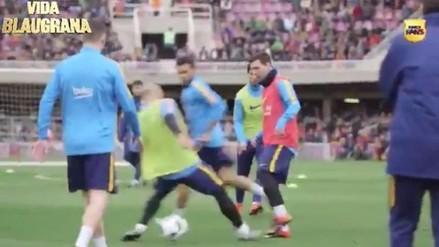YouTube: Lionel Messi ridiculizó a Javier Mascherano en entrenamientos