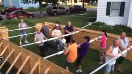 Facebook: jugadores reales recrearon partida de fútbol de mesa