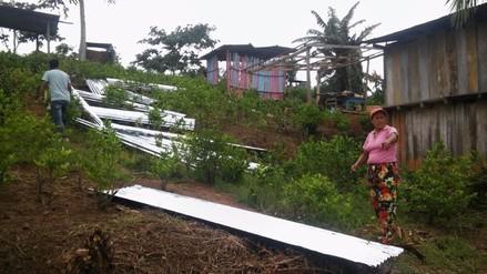 Fuertes vientos derribaron techos de viviendas en el Vraem