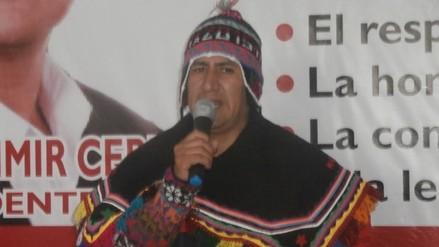 Vladimir Cerrón arribó a Huancavelica en busca de votos