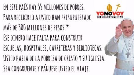 Facebook: mexicanos protestan por llegada del papa Francisco