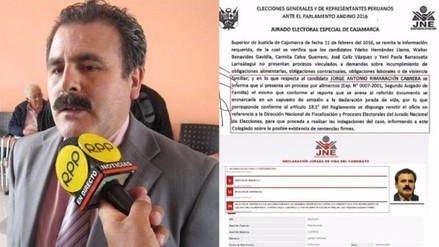 Congresista Jorge Rimarachín no declaró proceso por alimentos