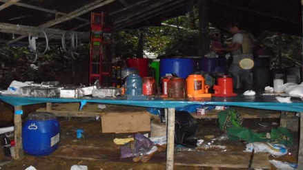 Vraem: intervienen laboratorio de procesamiento de droga de alta pureza