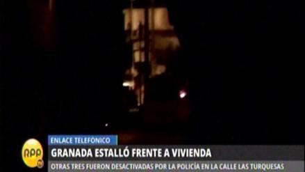 Granada estalló frente a vivienda en San Juan de Lurigancho