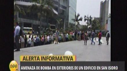 Falsa alarma de bomba generó zozobra en San Isidro