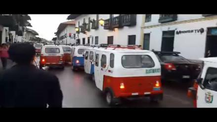 Mototaxistas protestaron en el Centro Histórico de Cajamarca