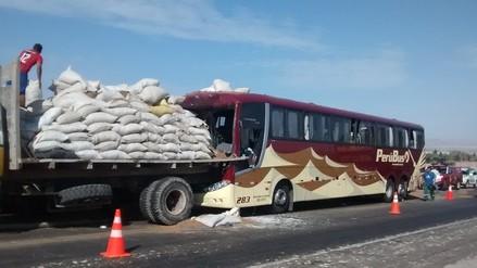 Choque entre bus y camión dejó un muerto en Pisco