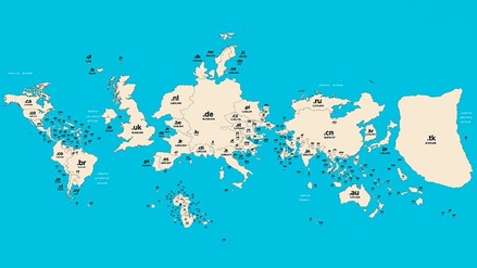 Mapamundi muestra el tamaño de los países según los dominios de Internet