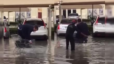 YouTube: mira la original idea de este hombre para sortear una inundación