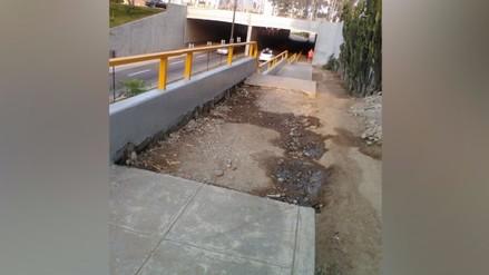 Miraflores: obra sin culminar en puente afecta a transeúntes