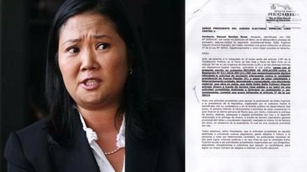 Apelan fallo del JEE favorable a Keiko Fujimori y JNE resolverá el caso