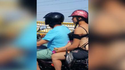 Panamericana Sur: trasladan a menor en moto de manera peligrosa