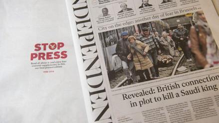 The Independent publicó su última edición en papel