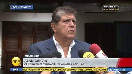 Alan García dice tener encuesta que le da 16 % de intención de voto