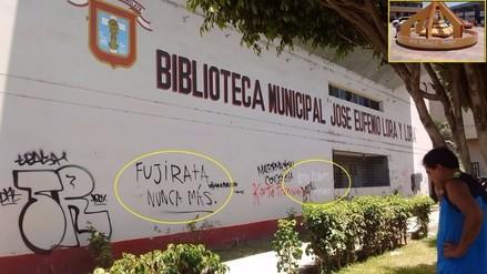 Pintas del Movadef y contra Fujimori aparecieron en biblioteca de Chiclayo