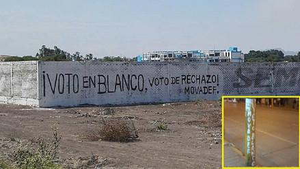 Movadef induce al voto en blanco con pintas en Chiclayo y Tumán