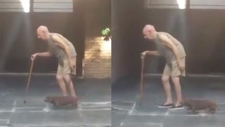 YouTube: el lento paseo de un anciano y su mascota conmueve en la red