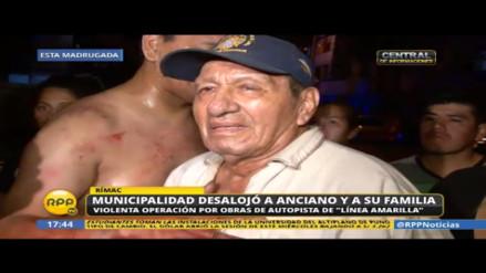 Rímac: Anciano de 87 años y su familia se quedan en la calle tras desalojo