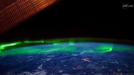 La espectacular Aurora Boreal fue captada por las cámaras de la NASA
