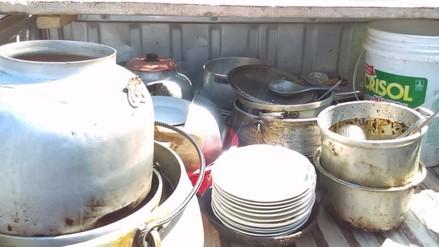 Decomisan utensilios oxidados de locales de venta de comida en Pomalca