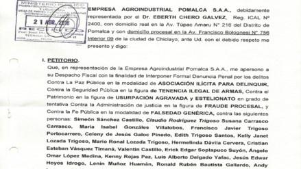 Agroindustrial Pomalca denunció tráfico ilegal de tierras ante Ministerio Público