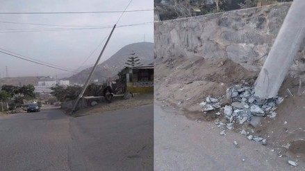 VMT: vecinos alertan sobre poste a punto de caer