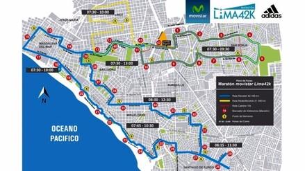 Estas avenidas estarán cerradas en Lima por la Maratón Lima 42K