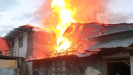 Huancayo: autoridades sofocan incendio en una vivienda