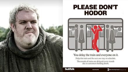 Game of Thrones: Metro de Nueva York se inspira en Hodor para mandar un consejo