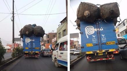 Ate: camión circula con excesiva carga en plena Carretera Central