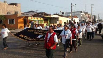 Trujillo: trabajadores obreros de Víctor Larco realizan marcha de protesta