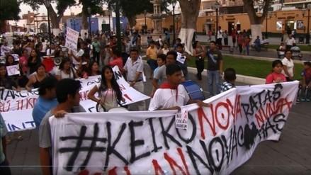 Marcha contra candidatura de Keiko Fujimori en Trujillo