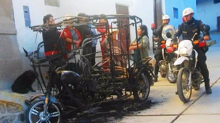 Otuzco: vándalos incendian mototaxi