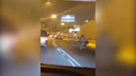 San Borja: hombre circula en triciclo en plena Vía Expresa (VÍDEO)