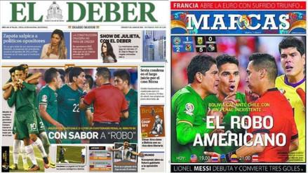 Copa América: prensa boliviana llama 'El Robo Americano'  al triunfo de Chile