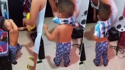 Perú vs. Colombia: niño colombiano hace berrinche por la camiseta de Messi