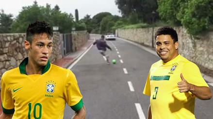 Ronaldo cumple reto de puntería y le demuestra a Neymar toda su grandeza