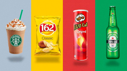 Rediseñan logos de marcas de alimentos y les ponen las calorías que aportan