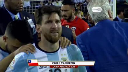 Messi lloró desconsoladamente tras perder la Copa América ante Chile