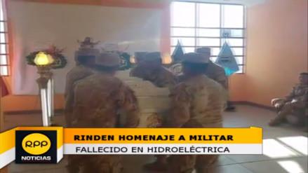Ejército del Cusco rinde homenaje a militar fallecido en hidroeléctrica
