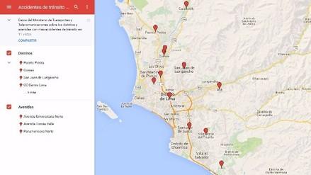 Mapa de los distritos y avenidas con más accidentes de tránsito en Lima