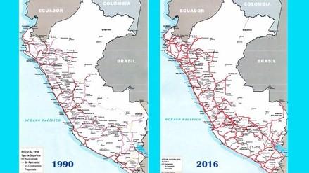 ¿Cuánto avanzó el Perú en carreteras desde 1990 al 2016?