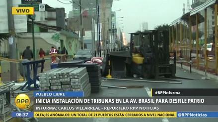 Inició instalación de tribunas en la Av. Brasil para Parada Militar