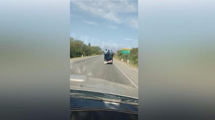 Lambayeque: Traslado imprudente de escolares en una mototaxi