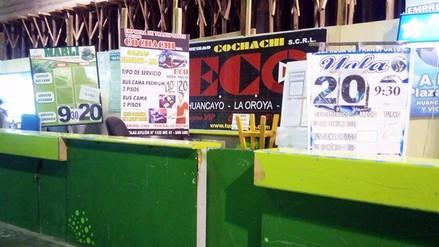 Huancayo: pasajes a Lima no registran incremento en terminales
